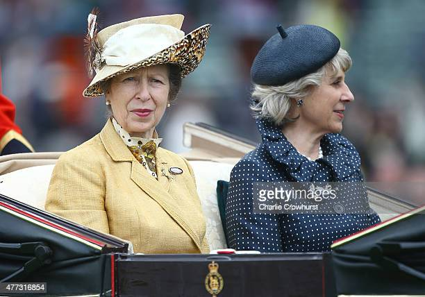 Princess Anne Princess Royal and the Duchess of Gloucester ride on royal procession the during Royal Ascot 2015 at Ascot racecourse on June 16 2015...