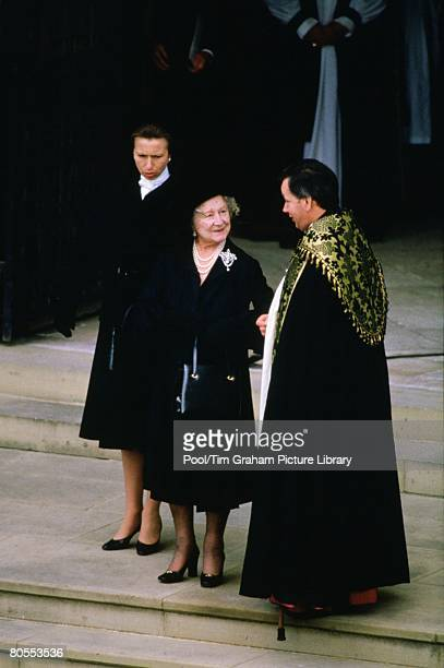 Princess Anne Princess Royal and the Queen Mother attend the funeral of the Duchess of Windsor