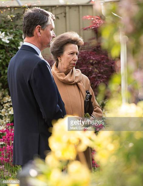 Princess Anne Princess Royal and Timothy Laurence attend Chelsea Flower Show press day at Royal Hospital Chelsea on May 23 2016 in London England The...