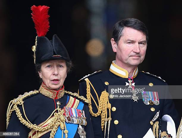 Princess Anne, Princess Royal and Timothy Laurence leave St Paul's Cathedral after a Service of Commemoration for troops who were stationed in...
