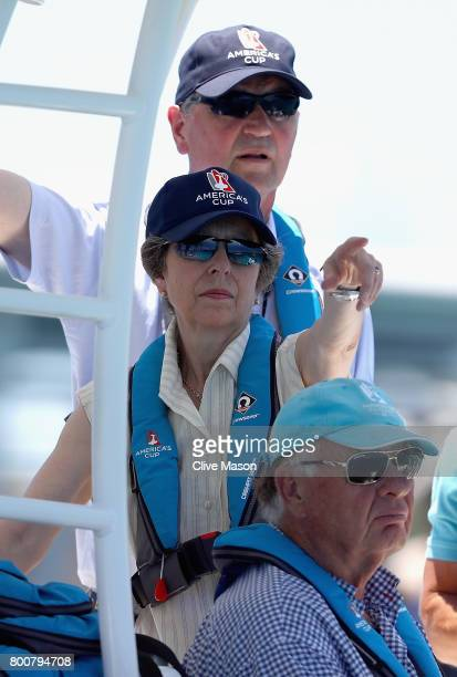 Princess Anne, Princess Royal and Timothy Laurence watchon day 4 of the America's Cup Match Presented by Louis Vuitton on June 25, 2017 in Hamilton,...