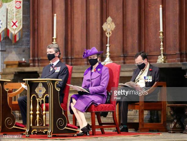 Princess Anne, Princess Royal and Vice Admiral Sir Tim Laurence attend the annual Service of Commemoration and Thanksgiving at Westminster Abbey on...