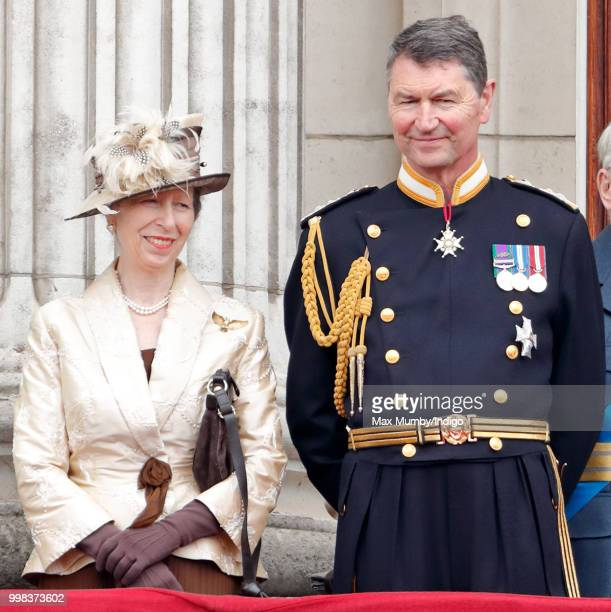 Princess Anne, Princess Royal and Vice Admiral Sir Tim Laurence watch a flypast to mark the centenary of the Royal Air Force from the balcony of...