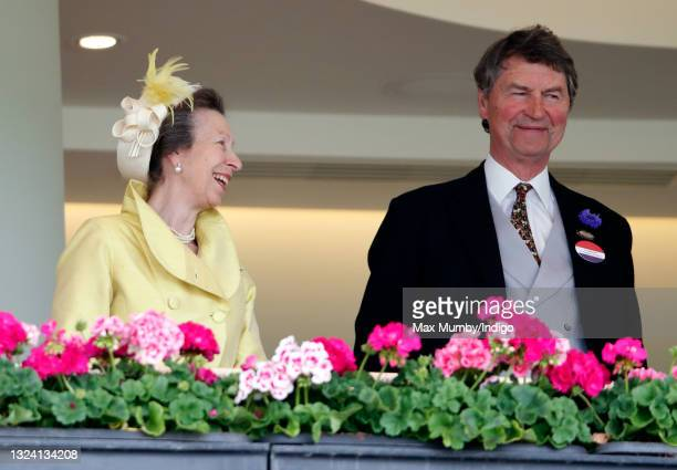 Princess Anne, Princess Royal and Vice Admiral Timothy Laurence attend day 3 of Royal Ascot at Ascot Racecourse on June 17, 2021 in Ascot, England.