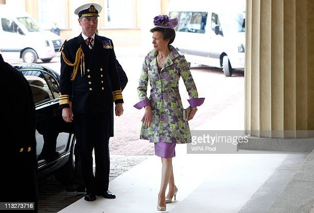Princess Anne Princess Royal arrives at Buckingham Palace after the wedding at Westminster Abbey on April 29 2011 in London England The marriage of...