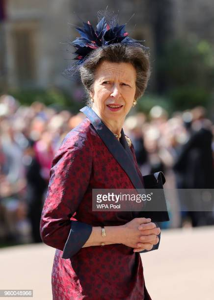 Princess Anne, Princess Royal arrives at St George's Chapel at Windsor Castle before the wedding of Prince Harry to Meghan Markle on May 19, 2018 in...