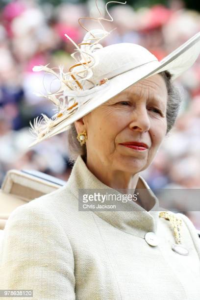 Princess Anne Princess Royal arrives by carriage to Royal Ascot Day 1 at Ascot Racecourse on June 19 2018 in Ascot United Kingdom