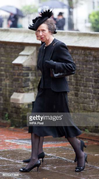 Princess Anne Princess Royal arrives for the funeral service of Patricia Knatchbull Countess Mountbatten of Burma at St Paul's Church in...