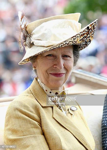 Princess Anne, Princess Royal arrives in a carriage in the parade ring on day 1 of Royal Ascot at Ascot Racecourse on June 16, 2015 in Ascot, England.