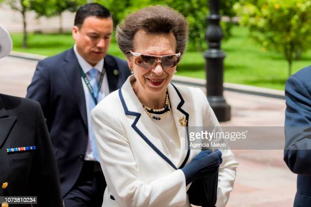 Princess Anne Princess Royal arrives to the Palacio de La Moneda to be welcomed in audience by the President of Chile Sebastián Piñera on November 28...