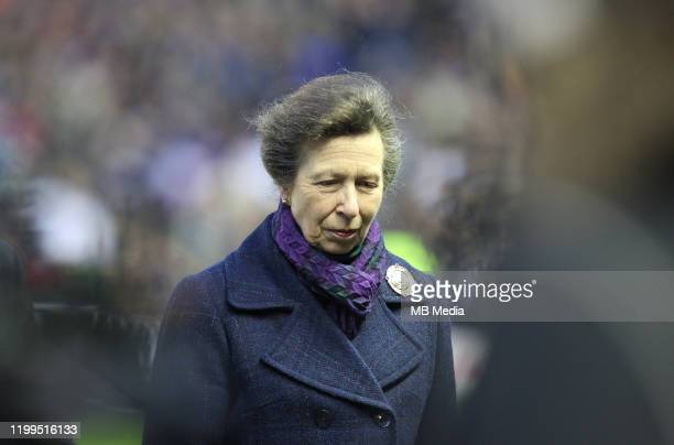Princess Anne, Princess Royal attend the 2020 Guinness Six Nations match between Scotland and England at Murrayfield on February 8, 2020 in...