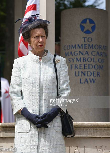 Princess Anne, Princess Royal attends a Magna Carta 800th Anniversary Commemoration Event on June 15, 2015 in Runnymede, United Kingdom. Members of...