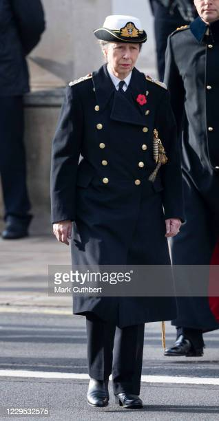 Princess Anne, Princess Royal attends the annual Remembrance Sunday memorial at The Cenotaph on November 8, 2020 in London, England.