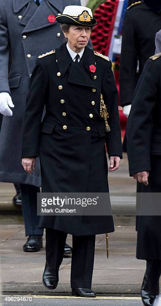 Princess Anne Princess Royal attends the annual Remembrance Sunday Service at the Cenotaph on Whitehall at The Cenotaph on November 8 2015 in London...