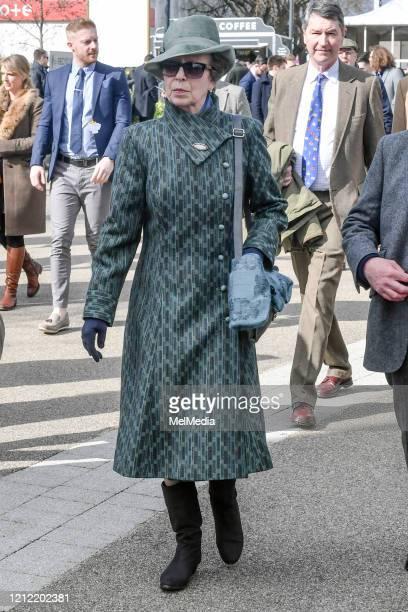 Princess Anne, Princess Royal attends the Cheltenham Festival 2020 at Cheltenham Racecourse on March 13, 2020 in Cheltenham, England.