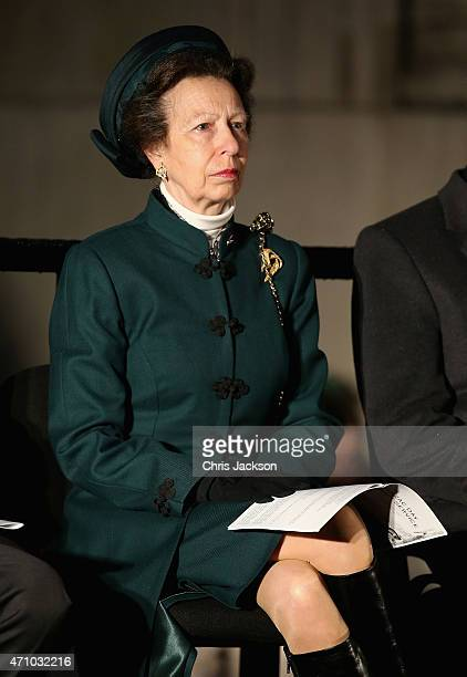 Princess Anne Princess Royal attends the early morning ANZAC Day Dawn Service to start at Wellington Arch on April 25 2015 in London England Today...