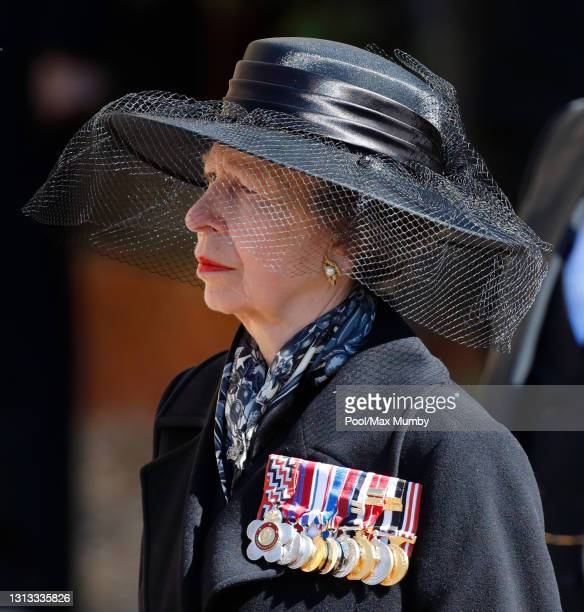 Princess Anne, Princess Royal attends the funeral of Prince Philip, Duke of Edinburgh at St. George's Chapel, Windsor Castle on April 17, 2021 in...