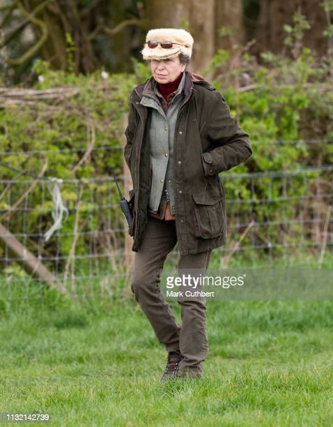 Princess Anne, Princess Royal attends the Land Rover Novice & Intermediate Horse Trials at Gatcombe Park on March 23, 2019 in Stroud, England.