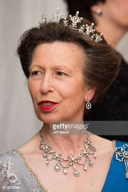 Princess Anne, Princess Royal attends the Lord Mayor's Banquet at the Guildhall during a State visit by the King and Queen of Spain on July 13, 2017...