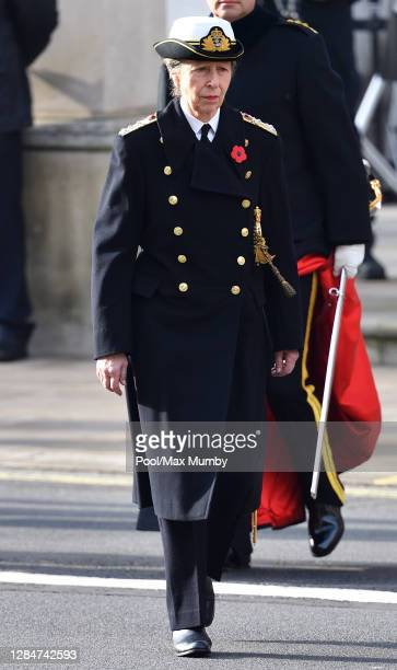 Princess Anne, Princess Royal attends the National Service of Remembrance at The Cenotaph on November 8, 2020 in London, England. Remembrance Sunday...