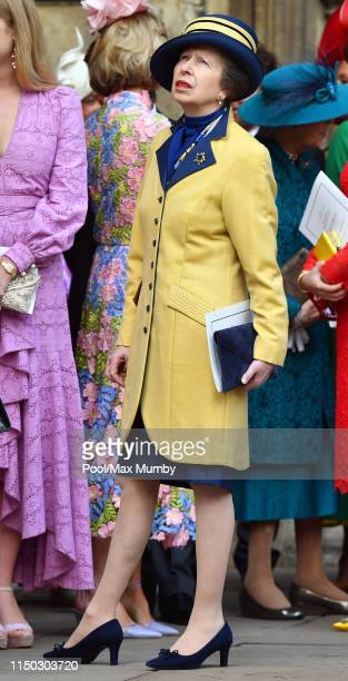 Princess Anne, Princess Royal attends the wedding of Lady Gabriella Windsor and Thomas Kingston at St George's Chapel on May 18, 2019 in Windsor,...