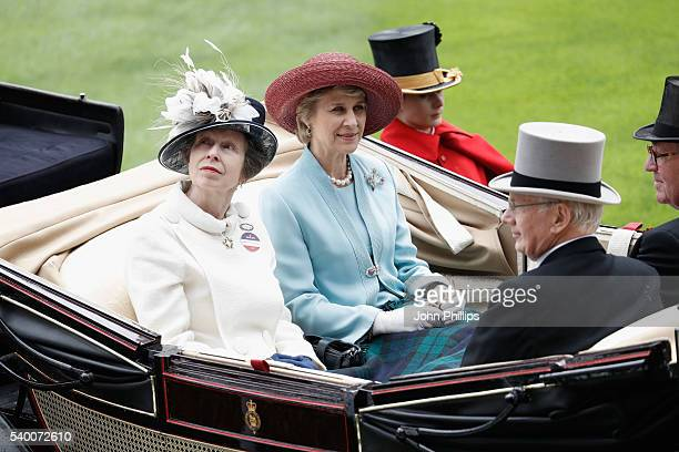 Princess Anne, Princess Royal, Birgitte, Duchess of Gloucester, Prince Richard, Duke of Gloucester and The Lord Vestey arrive by carriage on day 1 of...