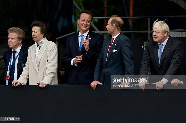 Princess Anne Princess Royal British Prime Minister David Cameron Prince Edward Earl of Wessex and Mayor of London Boris Johnson watch a parade...