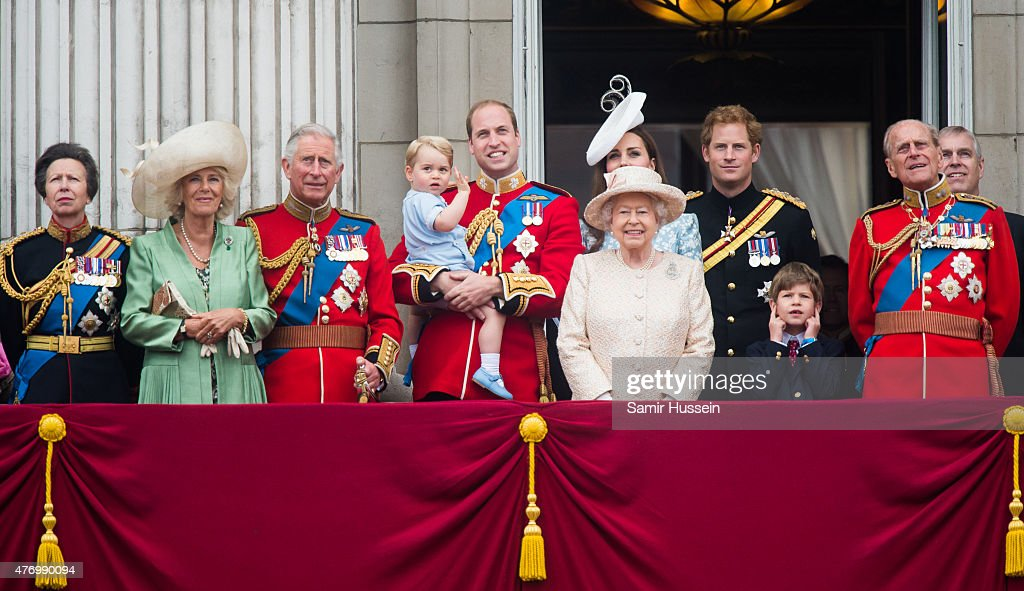 Princess Anne, Princess Royal, Camilla, Duchess of Cornwall, Prince Charles, Prince of Wales, Prince George of Cambridge, Prince William, Duke of Cambridge Catherine, Duchess of Cambridge, Queen Elizabeth II, Prince Harry, Prince Philip, Duke of Edinburgh and Prince Andew, Duke of York look on from the balcony during the annual Trooping The Colour ceremony at Horse Guards Parade on June 13, 2015 in London, England.