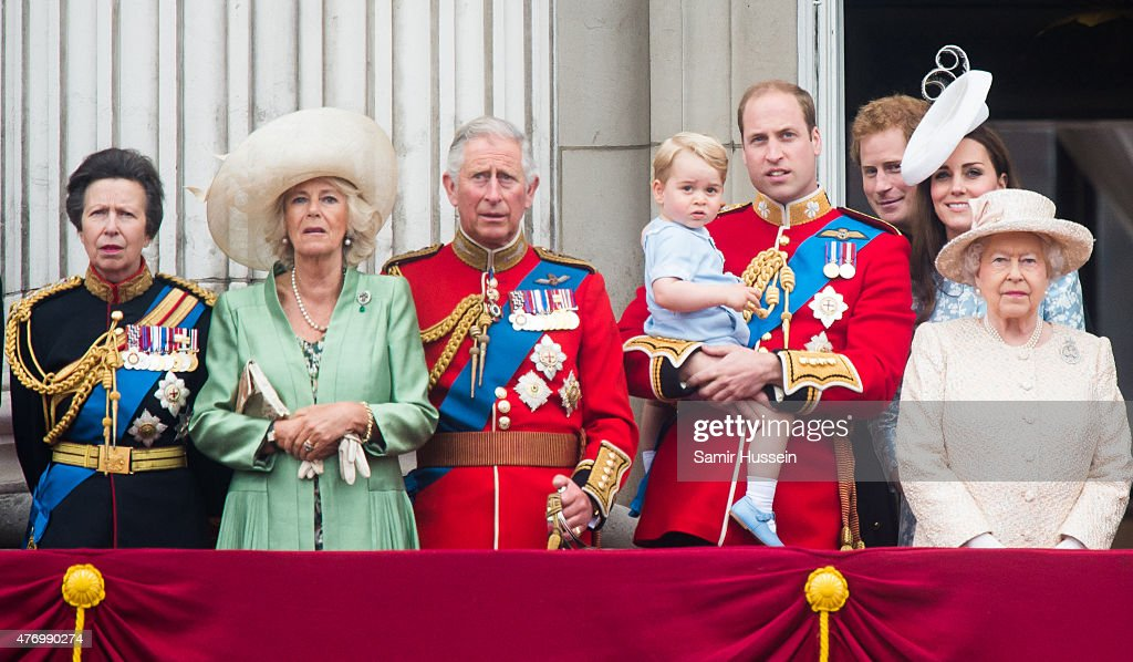 Princess Anne, Princess Royal, Camilla, Duchess of Cornwall, Prince Charles, Prince of Wales, Prince George of Cambridge, Prince William, Duke of Cambridge Catherine, Duchess of Cambridge, Queen Elizabeth II look on from the balcony during the annual Trooping The Colour ceremony at Horse Guards Parade on June 13, 2015 in London, England.