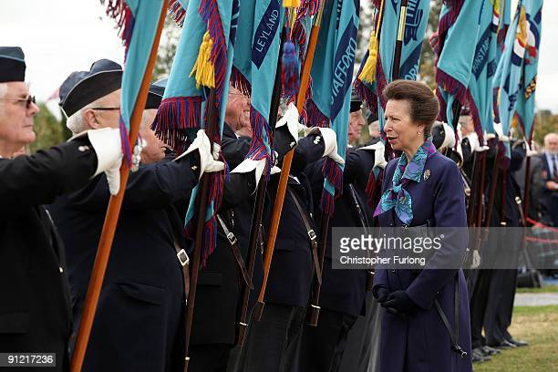 Princess Anne, Princess Royal chats to standard bearers as she officially opens the new RAF Association Remembrance Garden at The National Memorial...