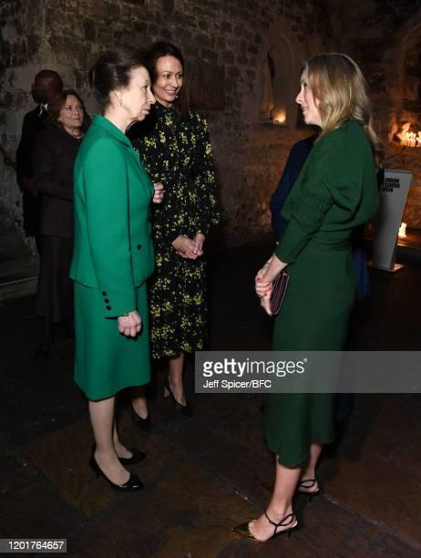 Princess Anne, Princess Royal , Chief Executive of the British Fashion Council Caroline Rush and British Fashion Council Chair Stephanie Phair attend...