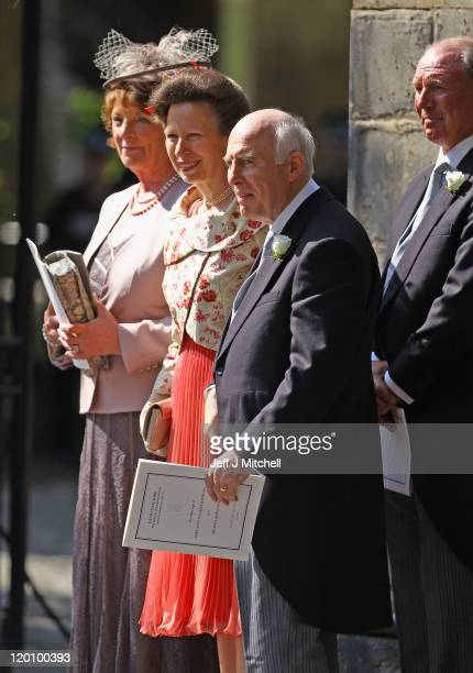 Princess Anne, Princess Royal departs from the Royal wedding of Zara Phillips and Mike Tindall at Canongate Kirk on July 30, 2011 in Edinburgh,...