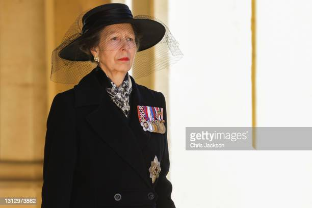 Princess Anne, Princess Royal during the funeral of Prince Philip, Duke of Edinburgh at Windsor Castle on April 17, 2021 in Windsor, England. Prince...