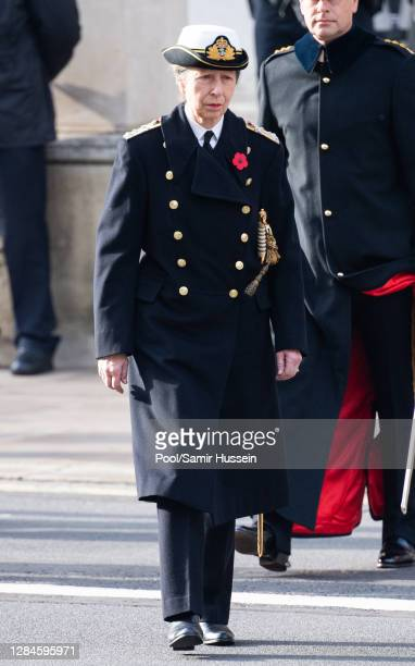 Princess Anne, Princess Royal during the National Service of Remembrance at The Cenotaph on November 08, 2020 in London, England.