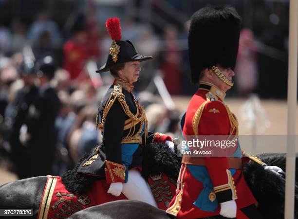 Princess Anne Princess Royal during Trooping The Colour ceremony at The Royal Horseguards on June 9 2018 in London England The annual ceremony...