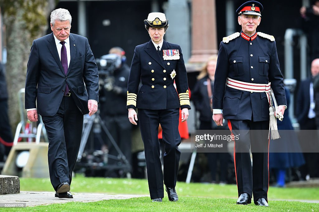Princess Anne, Princess Royal, German President Joachim Gauck, attend commemorations of the 100th anniversary of the Battle of Jutland at St Magnus Cathedral on May 31, 2016 in Kirkwall, Scotland. The event marks the centenary of the largest naval battle of World War One where more than 6,000 Britons and 2,500 Germans died in the Battle of Jutland fought near the coast of Denmark on 31 May and 1 June 1916.