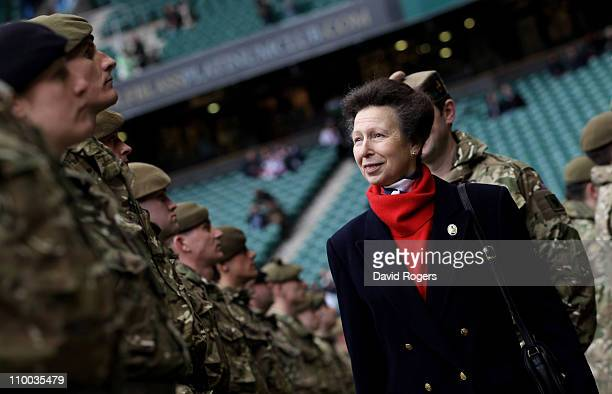 Princess Anne Princess Royal greets soldiers prior to presenting military medals ahead of the RBS 6 Nations Championship match between England and...
