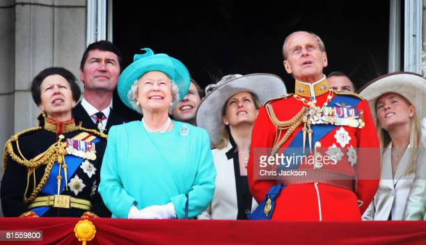 Princess Anne Princess Royal HRH Queen Elizabeth II Sophie Countess of Wessex Prince Philip Duke of Edinburgh and Autumn Kelly watch the fly past...