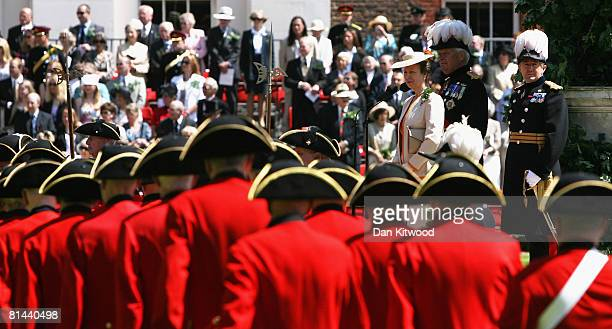 Princess Anne, Princess Royal. Inspects pensioners uniforms during the Founders Day Parade at Chelsea Royal Hospital, on June 5, 2008 in London,...