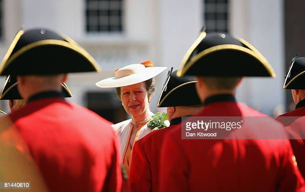 Princess Anne, Princess Royal inspects pensioners uniforms during the Founders Day Parade at Chelsea Royal Hospital, on June 5, 2008 in London,...