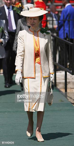 Princess Anne, Princess Royal inspects the uniforms of pensioners during the Founders Day Parade at Chelsea Royal Hospital, on June 5, 2008 in...