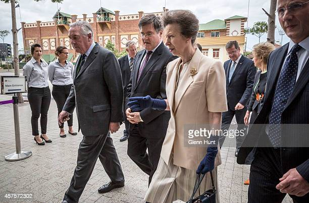 Princess Anne, Princess Royal is accompanied by Lord Samuel Vestey and John McVeigh MP as she arrives at the Agricultural Conference at the Royal...