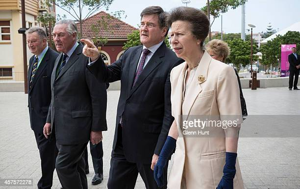 Princess Anne, Princess Royal is accompanied by Michael Lambert Hon. Sec. RASC, Lord Samuel Vestey and John McVeigh MP as she arrives at the...