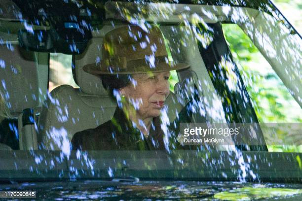 Princess Anne, Princess Royal is driven to Crathie Kirk Church before the service on August 25, 2019 in Crathie, Aberdeenshire. Queen Victoria began...
