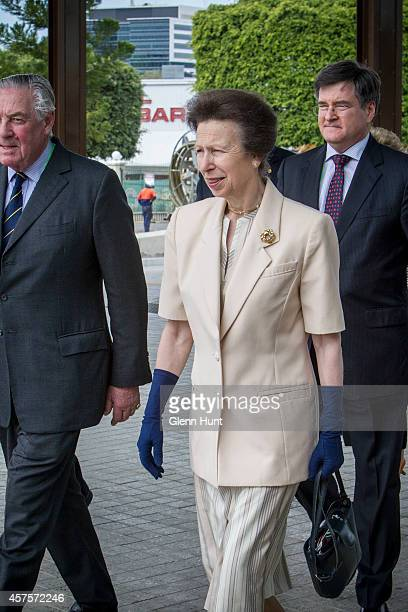 Princess Anne, Princess Royal is greeted by Lord Samuel Vestey and John McVeigh MP as she arrives at the Agricultural Conference at the Royal...