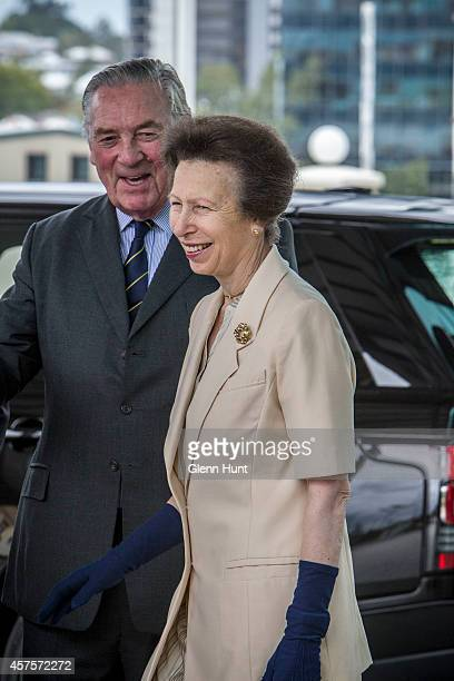 Princess Anne, Princess Royal is greeted by Lord Samuel Vestey as she arrives at the Agricultural Conference at the Royal International Convention...