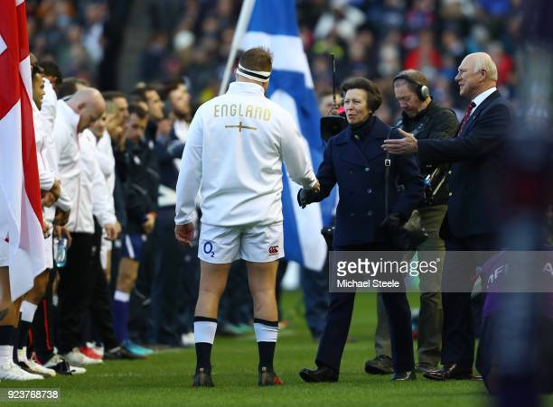 Princess Anne Princess Royal is presented to Dylan Hartley of England during the NatWest Six Nations match between Scotland and England at...