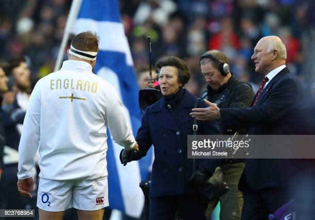 Princess Anne Princess Royal is presented to Dylan Hartley of England prior to the NatWest Six Nations match between Scotland and England at...