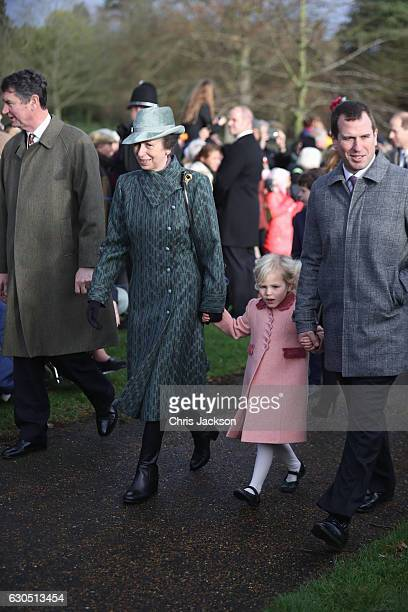 Princess Anne Princess Royal Isla Phillips and Peter Phillips attend a Christmas Day church service at Sandringham on December 25 2016 in King's Lynn...