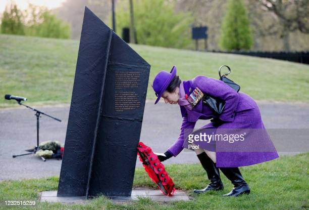 Princess Anne, Princess Royal lays a wreath during a dawn service to commemorate Anzac Day at the New Zealand War Memorial at Wellington Arch on...